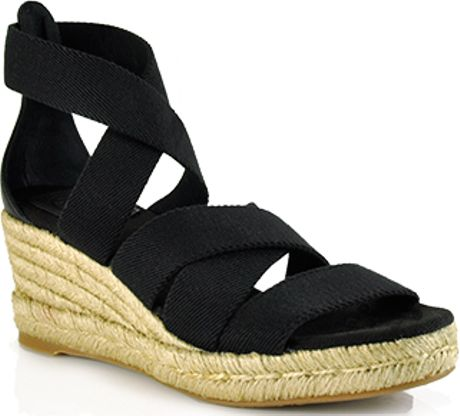 Tory Burch Bridee  Black Canvas Espadrille Wedge Sandal in Black - Lyst