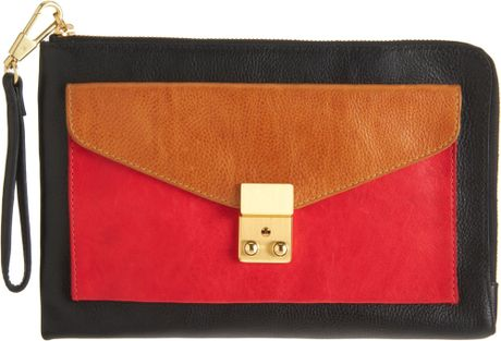 3.1 Phillip Lim Colorblock Small Pashli Zip Clutch in Gold (silver) - Lyst