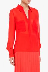 Bcbgmaxazria Emma ButtonDown Silk Chiffon Blouse in Red (bright poppy) - Lyst