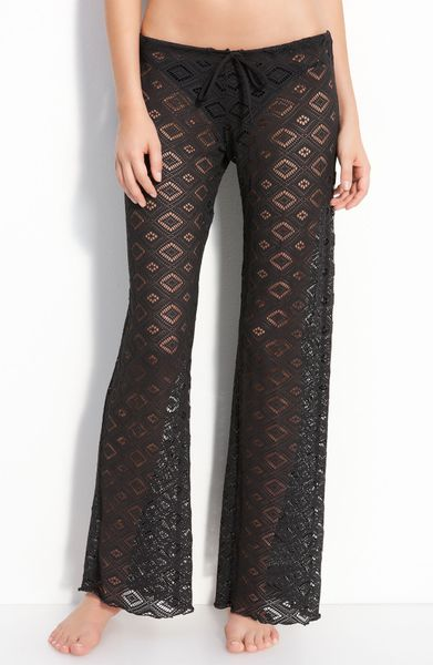 Becca Crochet Cover Up Pants In Black Onyx Lyst