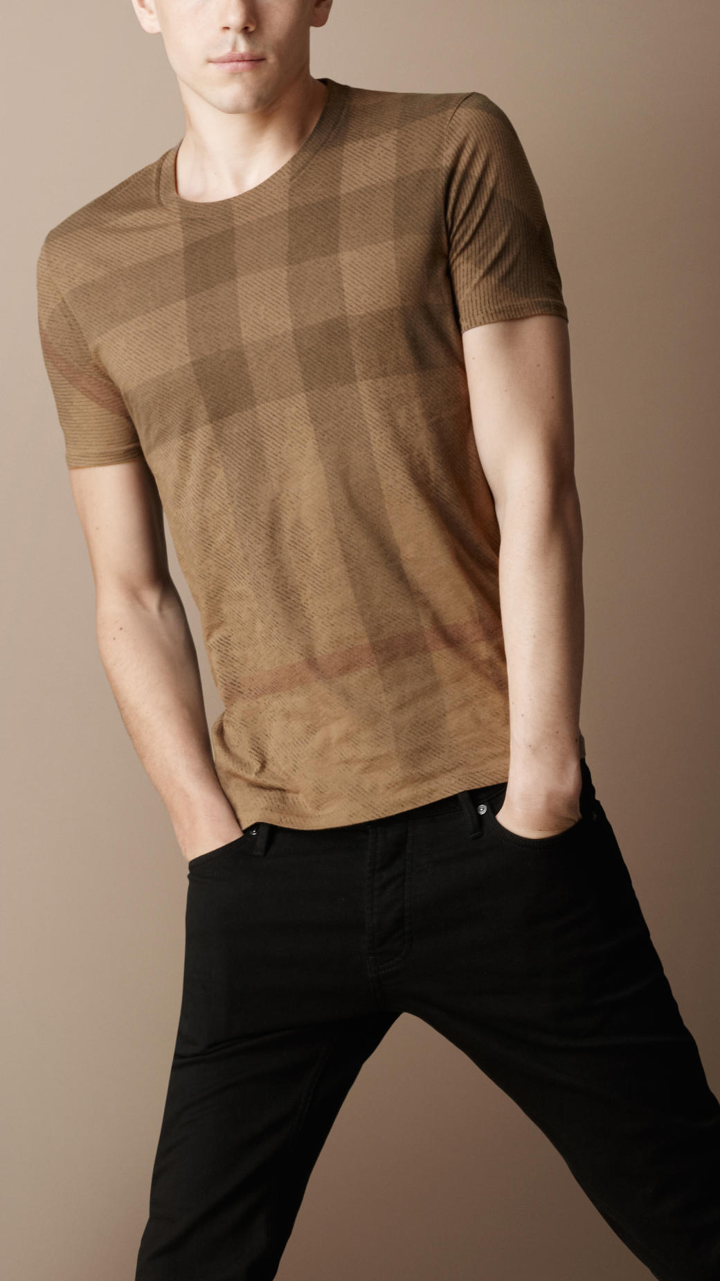 Burberry brit twill check jersey t shirt in brown for men for T shirt burberry men