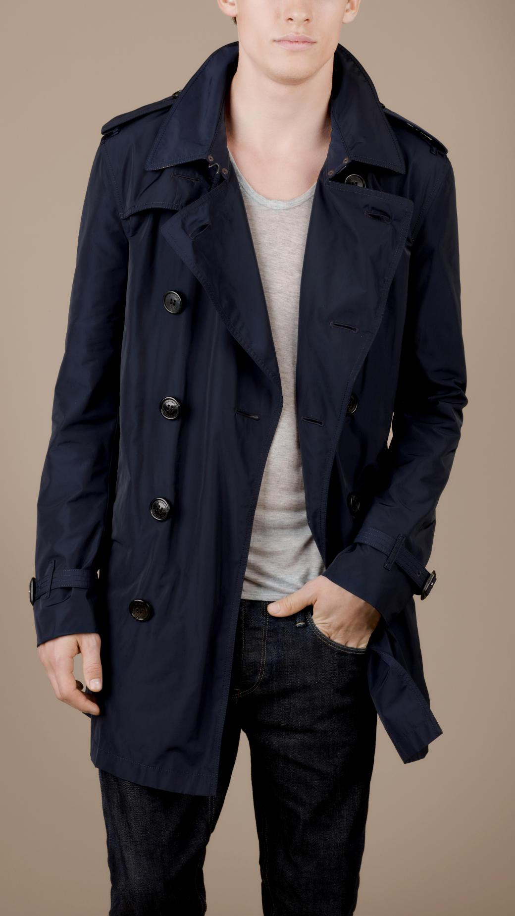 burberry brit lightweight packaway trench coat in blue for. Black Bedroom Furniture Sets. Home Design Ideas