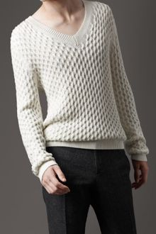 Burberry Honeycomb Knit V-neck Sweater - Lyst