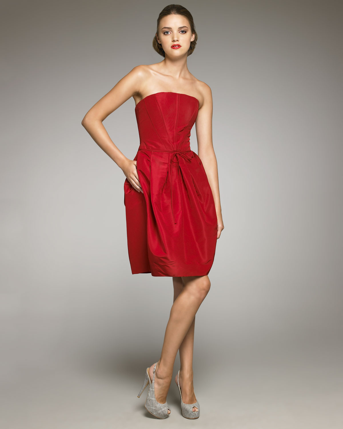 Carolina Herrera Strapless Silk Faille Dress In Red Lyst
