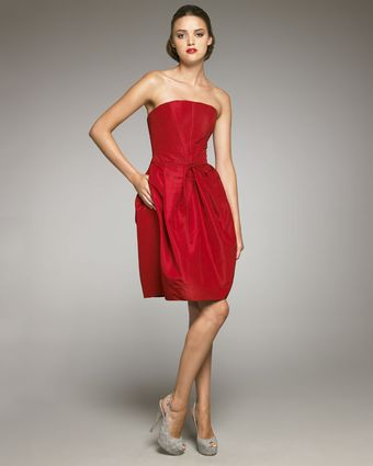 Carolina Herrera Strapless Silk Faille Dress - Lyst