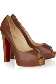 Christian Louboutin Gabin 140 Leather Open-toe Pumps - Lyst