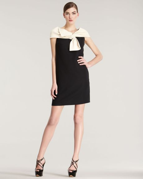 Dior Contrast Bow Dress in Beige (beige black) - Lyst