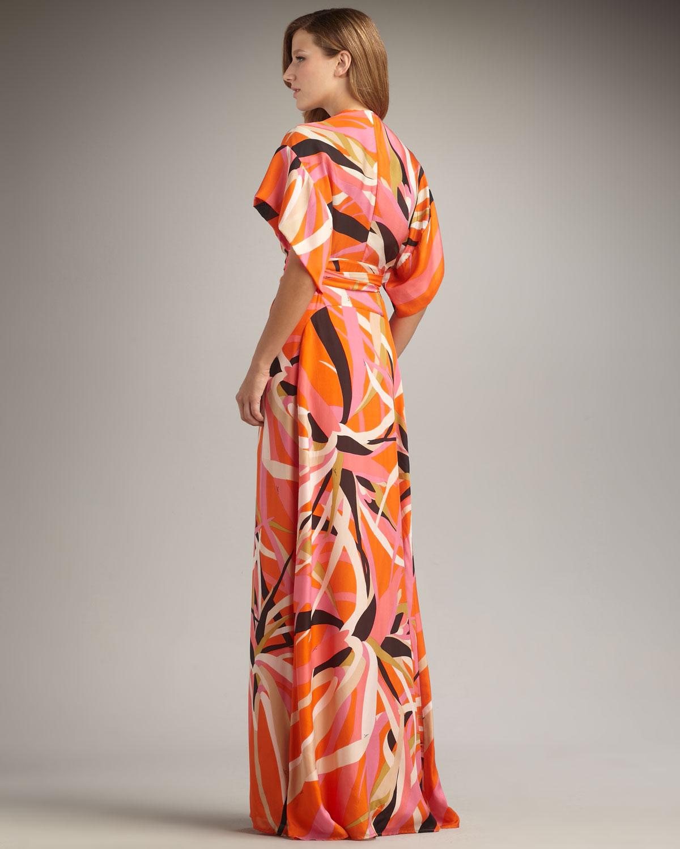 Lyst Issa Short Sleeve Kimono Maxi Dress In Orange