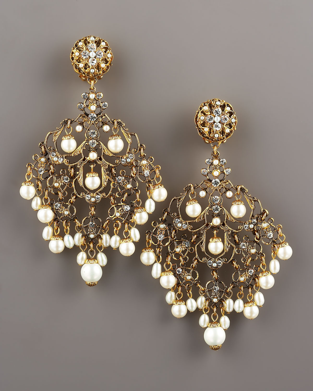 Jose & Maria Barrera Pearly Filigree Chandelier Earrings UR9gB