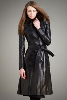 Narciso Rodriguez Fur-collar Long Leather Coat - Lyst