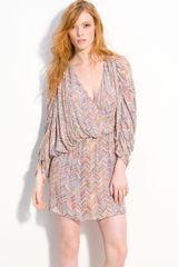 Parker Beaded Zigzag Surplice Dolman Dress - Lyst