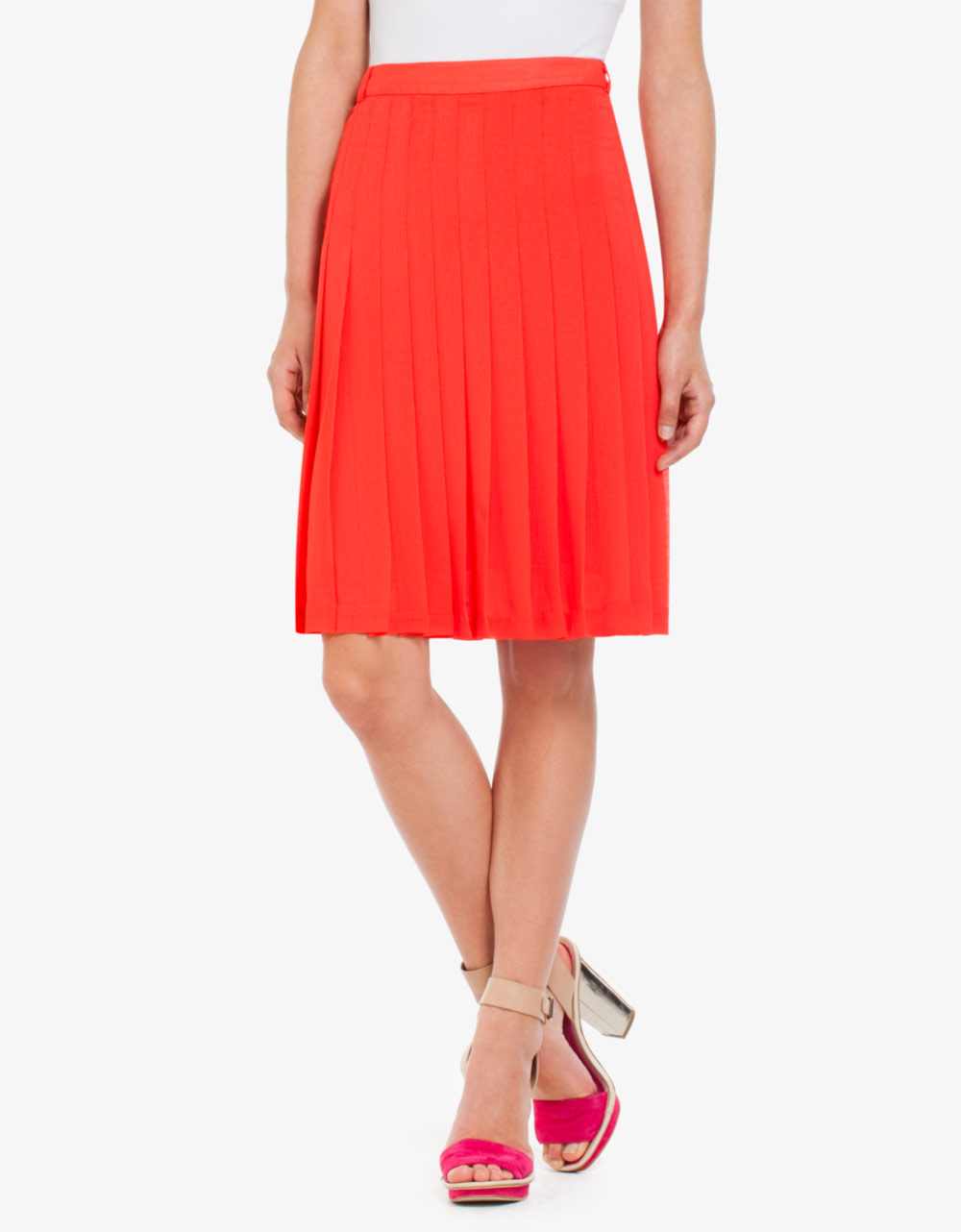bcbgmaxazria bonita pleated chiffon skirt in bt poppy
