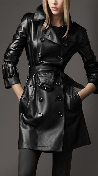 Burberry Leather Trench Coat - Lyst