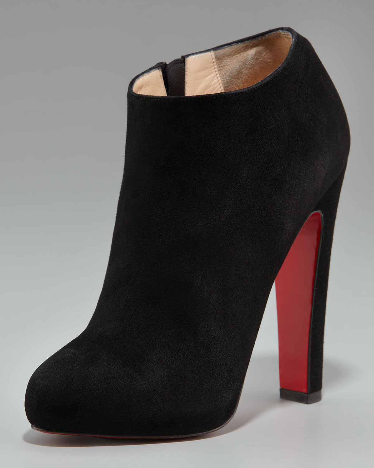 Christian louboutin Suede Thick-heel Bootie in Brown (bordeaux) | Lyst