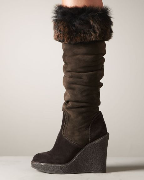 donna karan new york fur trim wedge boot in brown