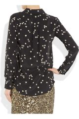 Equipment Starprint Washedsilk Crepe De Chine Shirt in Black - Lyst