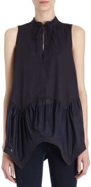Givenchy Handkerchief Hem Blouse in Blue (navy) - Lyst