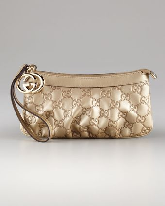 Gucci Gg Zip-top Wristlet with Charm - Lyst