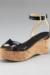 Jimmy Choo Patent Cork Wedge Sandal - Lyst