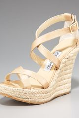 Jimmy Choo Crisscross Espadrille Wedge, Nude - Lyst