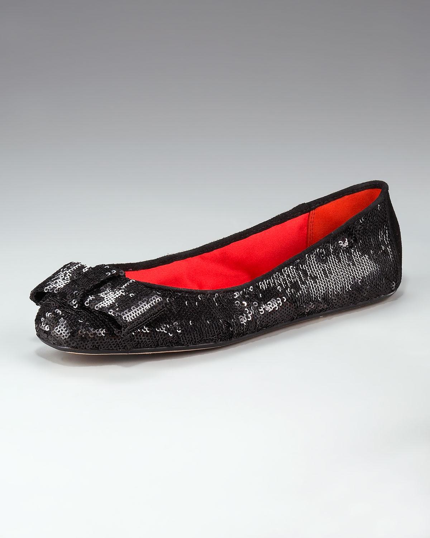 b9025386835f Lyst - Kate Spade Finn Sequined Ballerina Flat in Black