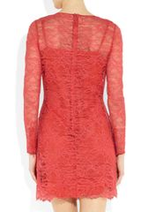 Matthew Williamson Rainbow Satin and Crochetappliquéd Lace Dress in Pink (coral) - Lyst