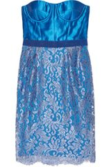Matthew Williamson Silk-blend and Lace Bustier Dress - Lyst