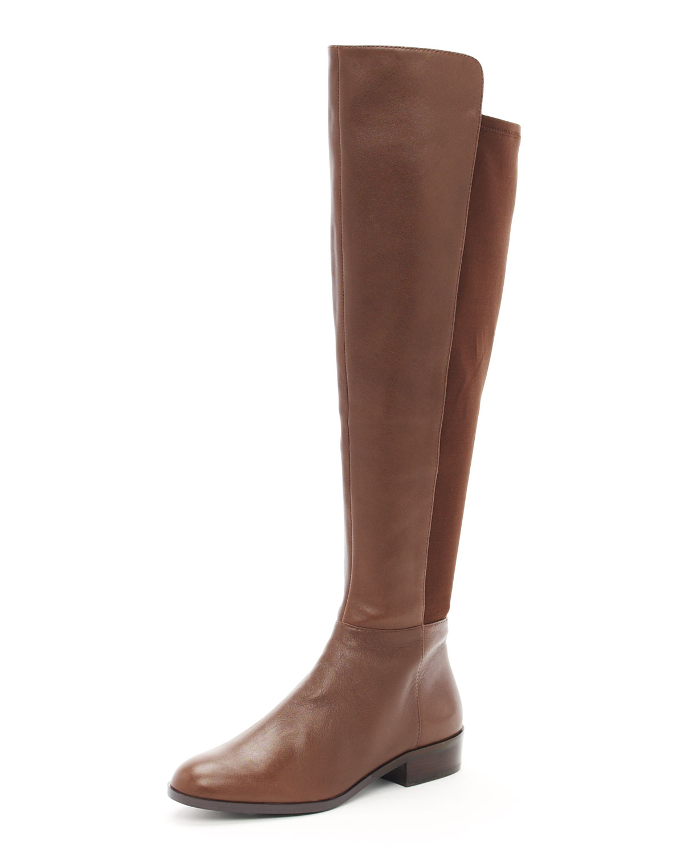 michael michael kors bromley otk flat boot in brown mocha