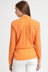 C&c California Cotton Drawstringwaist Blouse in Orange (white) - Lyst