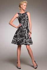Oscar de la Renta Printed Fit-and-flare Dress - Lyst
