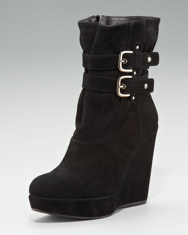 stuart weitzman buckle wedge boot in black lyst