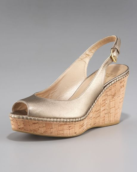 Stuart Weitzman Cork Wedge Peep Slingback in Gold (black) - Lyst