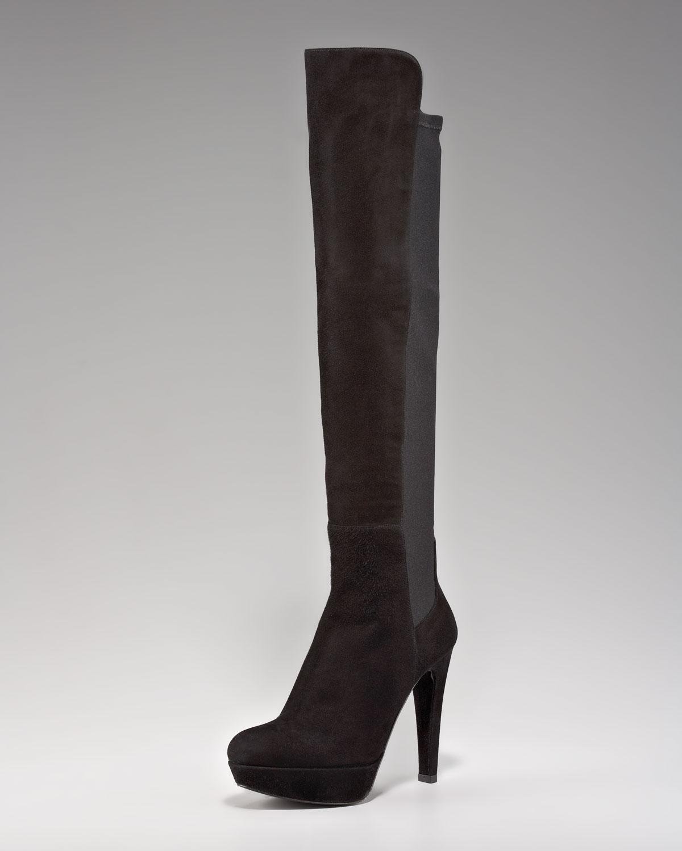 stuart weitzman stretch suede the knee boot in black