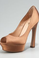 Saint Laurent Palais Silk Platform Pump, Brown - Lyst