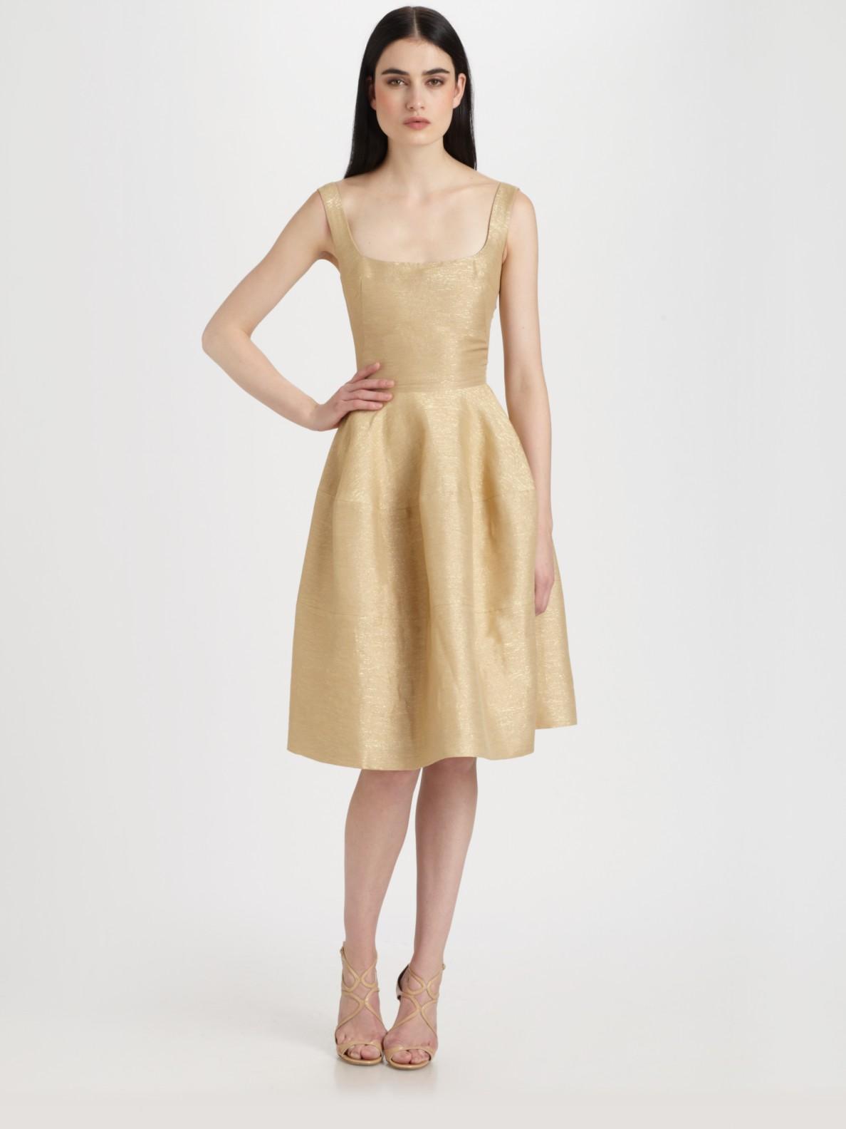 Dress Square Double Thai 100 Viscose: Alexander Mcqueen Square Neck Dress In Metallic