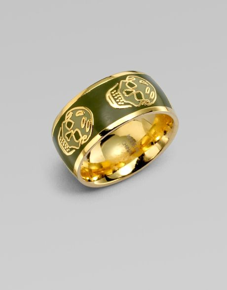 Alexander Mcqueen Skull Ring in Green (olive-gold) - Lyst