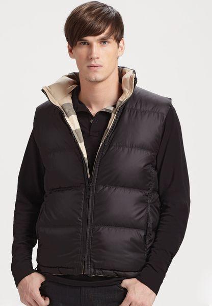 Burberry Brit Reversible Down Vest In Black For Men Lyst