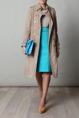 Burberry Prorsum Suede Trench Coat in Beige (nude) - Lyst