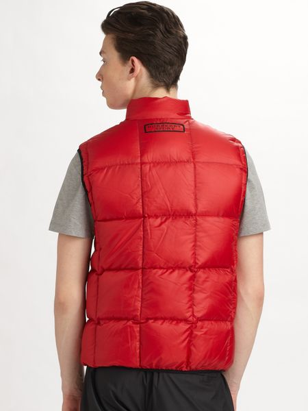 Burberry Sport Puffer Vest In Red For Men Lyst