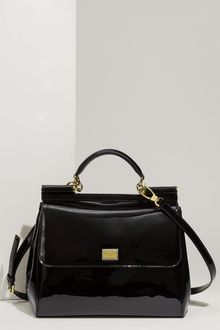 Dolce & Gabbana Miss Sicily Patent Leather Top Handle Satchel - Lyst