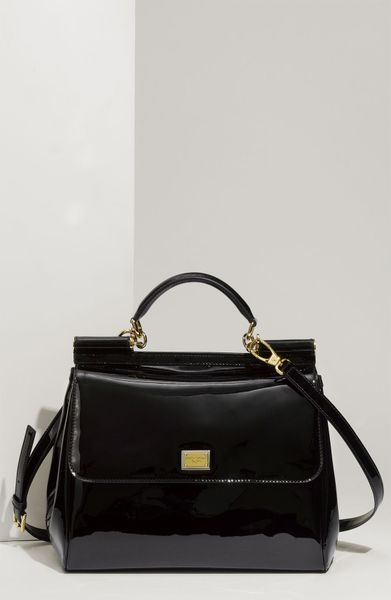 Dolce & Gabbana Miss Sicily Patent Leather Top Handle Satchel in Black - Lyst