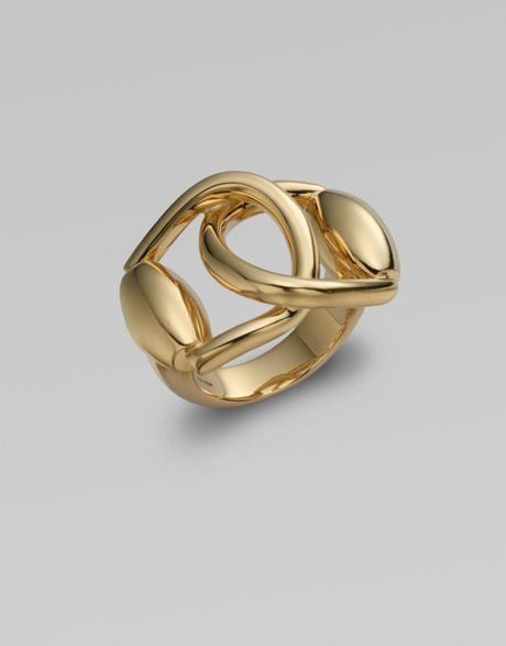 gucci 18k gold horsebit ring in gold lyst