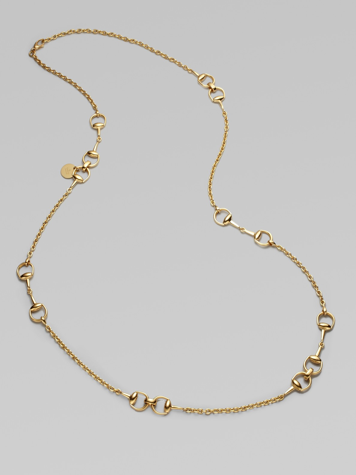 22eb5dac8 Gucci 18k Gold Horsebit Station Necklace in Metallic - Lyst