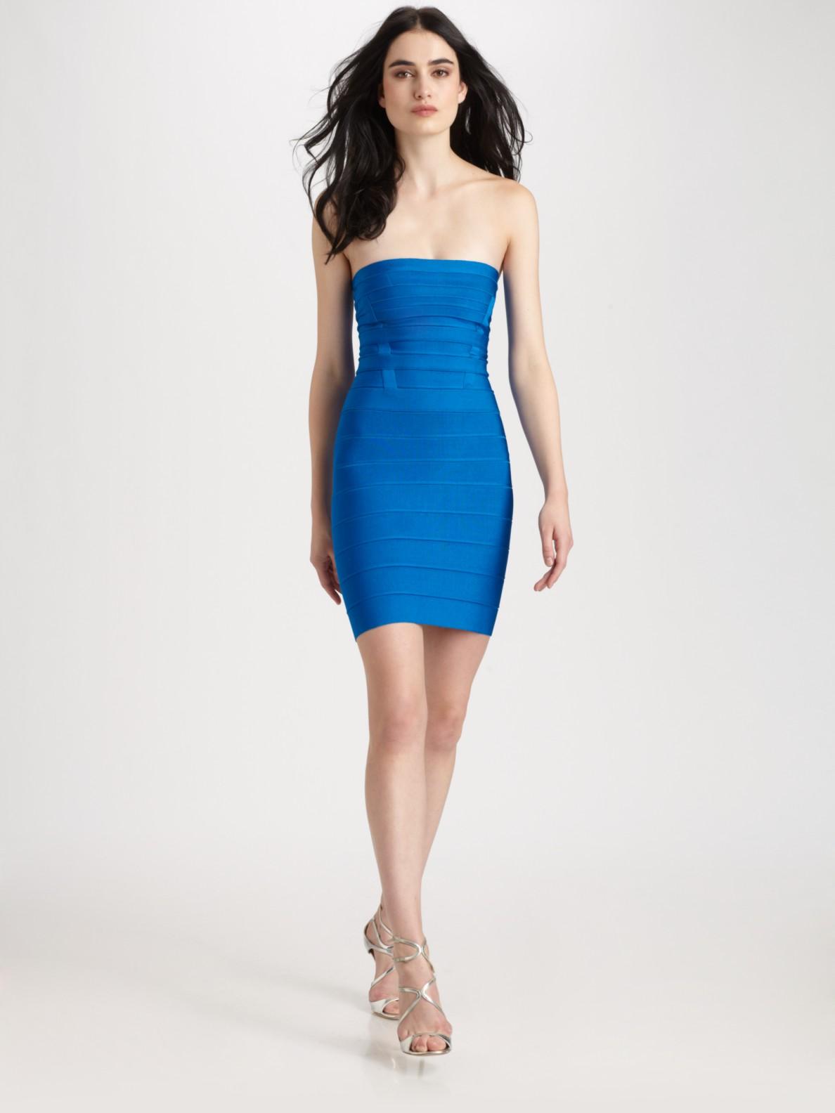 Hervé léger Strapless Dress in Blue - Lyst