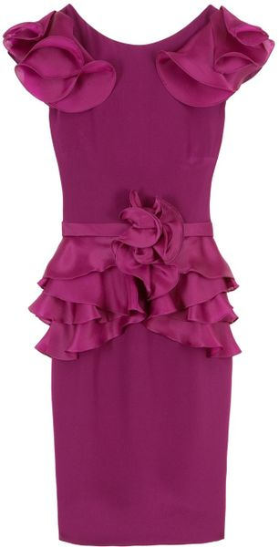 Notte By Marchesa Organza Ruffle Dress in Purple - Lyst