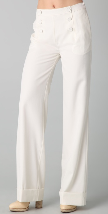 Raoul Fit N Flare Sailor Pants in White | Lyst
