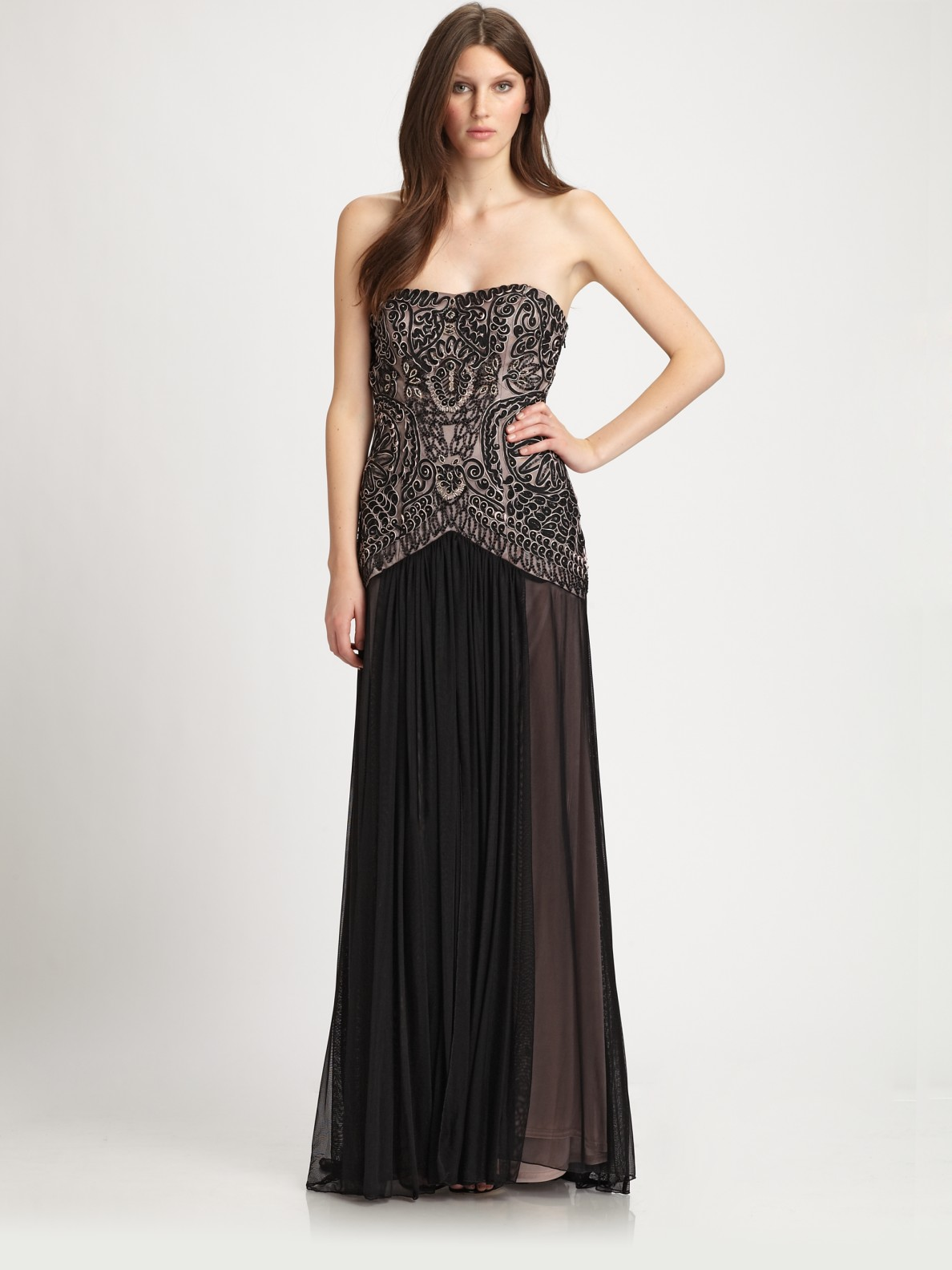Lyst - Sue Wong Strapless Gown in Black