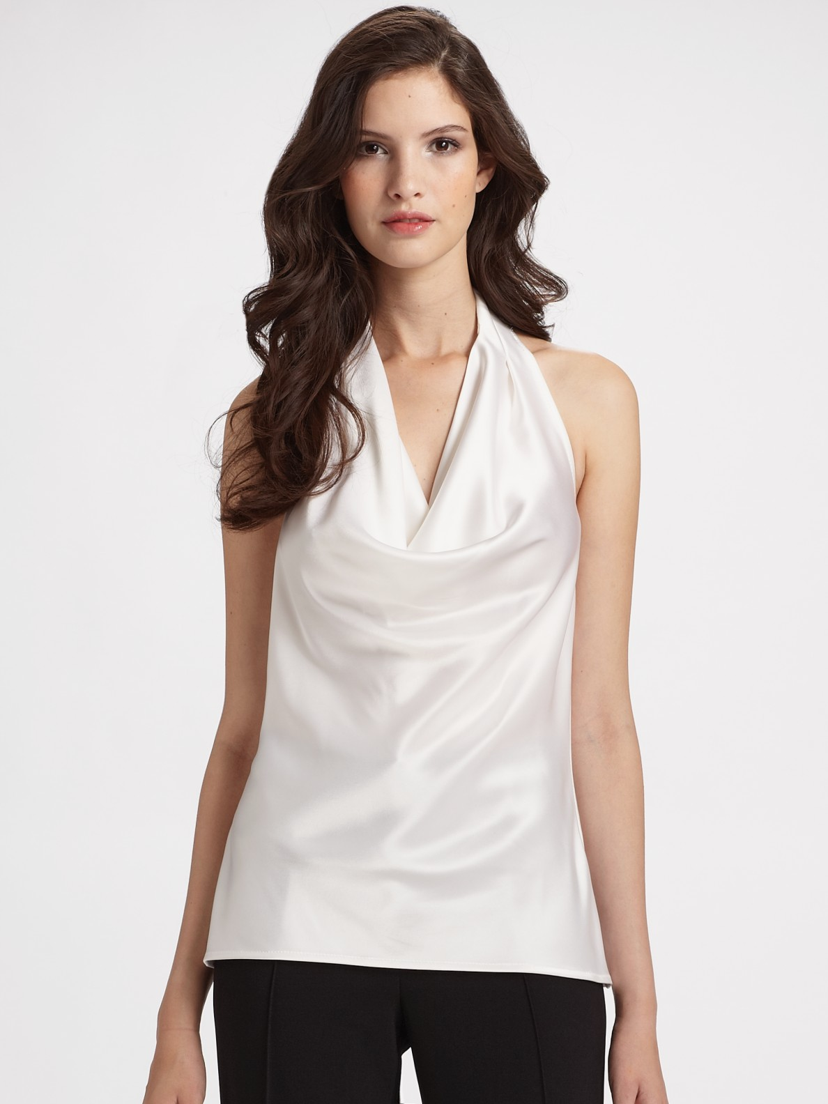 St John Satin Halter Top In White Lyst