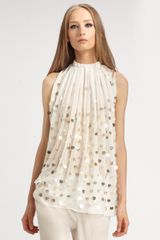 Stella Mccartney Sheer Dot Top in White - Lyst