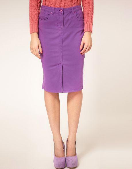 asos collection asos denim pencil skirt in dewberry in